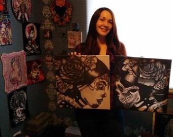 Vida y Muerte  -  Stretched Canvas Prints Day of the Dead Dia De Los Muertos Print Art set life and Death tattoo flash  art