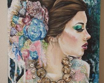 Portia - Fine Art Print Giclee Canvas Beautiful Woman Portrait in Green Earth Tones Ocean Seashells  Seaside 11x14 Gallery Wrapped Signed