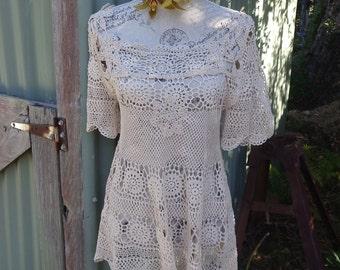 sand crochet bohemian hippy tunic, beachy long top, small