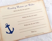 Anchor Wish Cards Parenting Advice Wishes Nautical Shower Activity Cards Set of 10