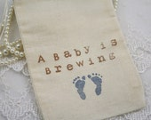 Baby Boy Favors Bags Baby is Brewing Shower Blue Footprints Set of 10