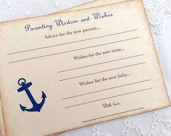 Baby Shower Games Nautical Anchor Wish Cards Parenting Advice