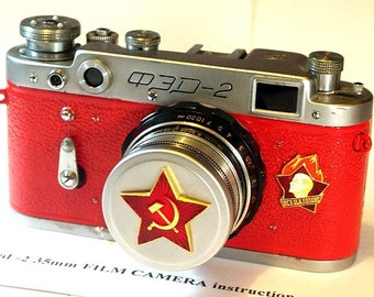 """1958 Red antique camera """"FED-2"""" from Moscow! -=Aways Ready=-"""