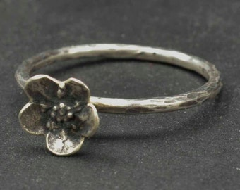 Flower Ring, Forget Me Not Ring, Sterling Ring, Metalsmith Jewelry