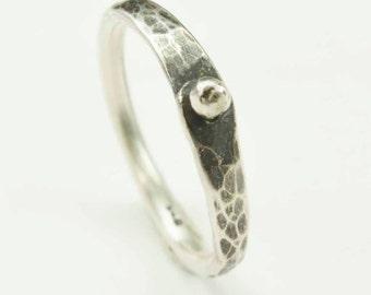 Sterling Pinned Ring, Silver Rivet Ring, Hammered Sterling Silver Ring, Textured Ring, Silversmith Ring