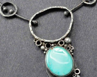 Turquoise Necklace, Sterling Turquoise Necklace, Boho Necklace, Organic Necklace, Raw Silver Necklace, Silversmith