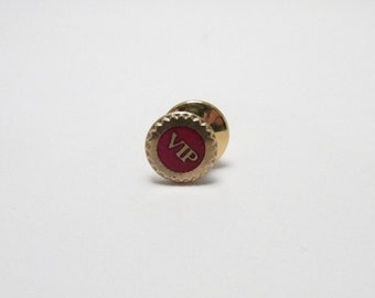 Vintage VIP pinback pin Very Important person Red enamel tie