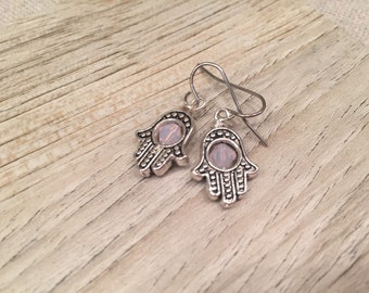 Chamsa Earrings with Milky Subtle Pink Swarovski Crystals