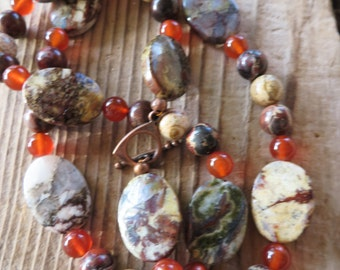 Picasso Jasper Brecciated Jasper and Red Agate Beaded Necklace