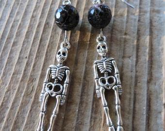Silver Skeleton and Purple Agate Dangling Earrings