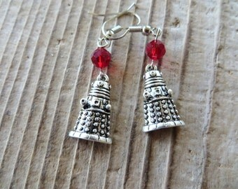 Silver Tiny Dalek Doctor Who Inspired Charm Earrings With Red Glass Beads
