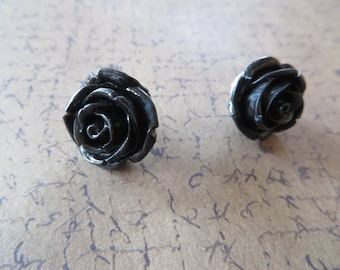 Black Resin Rose Post Earrings