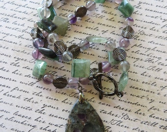 Green and Purple Fluorite and Gunmetal Swirl Beaded Necklace with Fluorite Pendant
