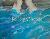 Toes in the Ocean-Acrylic-Beach Archival Print from Original Painting 8x10 11x14