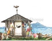 Island Fishing Shack Art Print - Watercolor Beach Landscape