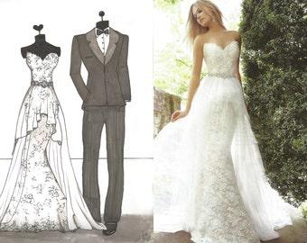 Custom Wedding Gown Art Portrait Design