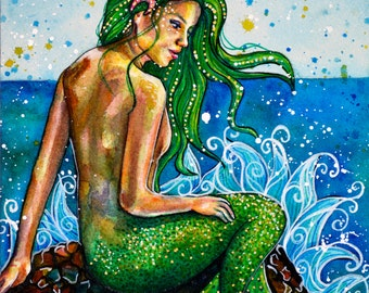 Mermaid watercolour painting - By the Shore