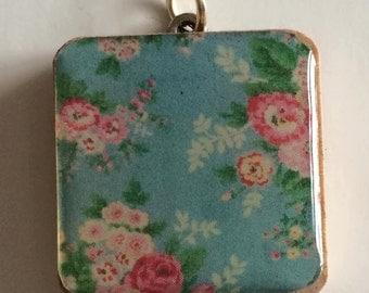 Shabby chic pretty blue flower print handmade wooden tile pendant