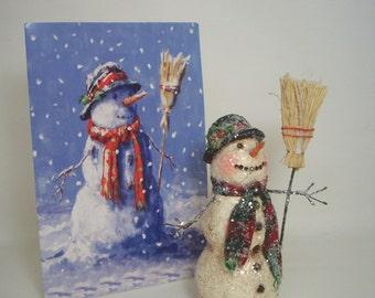 Snowman Paper Mache Folk Art Sculpture