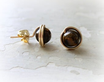 Tiger Eye Studs, Brown Post Earrings, Gold Filled Studs, Gemstone Posts, Round Stud Earrings, Natural Stone Earrings, Brown Gold Studs