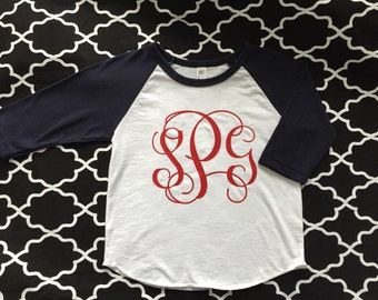Personalized monogram raglan baseball tee t shirt girls initials vine script oversized