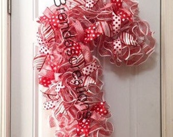 Candy Cane, Holiday Decor, Christmas Wreaths For Front Door, Christmas Wreath, Candy Wreath, Holiday Wreath, Front Door Decor, Home Decor