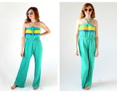 Vintage Terry Cloth Jumpsuit- 70s Romper Onesie,  Boogie Nights Roller Girl Outfit, Turquoise Towel Terrycloth Halter Retro Outfit