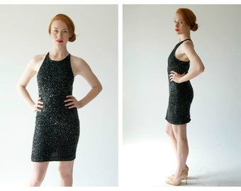 90s Silver Sequin Beaded Dress- Starry Night, Vintage Cocktail Minimalist, High Neck Cross Back Strappy Mini, Goth Silver Celestial, Silk