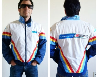 Men's Vintage Moto Jacket- Coat, M, Striped 80s, GM Motorsports, Player's Cigarettes, Racing Stripe Retro Hipster
