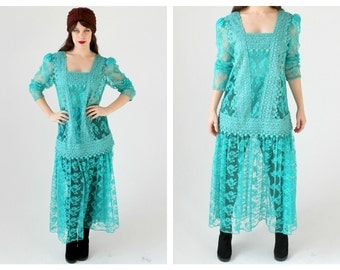 Turquoise Green Drop Waist Lace Dress- Transparent 80s Avant Garde Statement Vintage, Hipster Flapper 20s Retro Long Swingy Gown