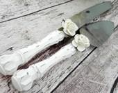 Shabby Chic Wedding Cake Server And Knife Set, White Rose, Bridal Shower Gift, Wedding Gift