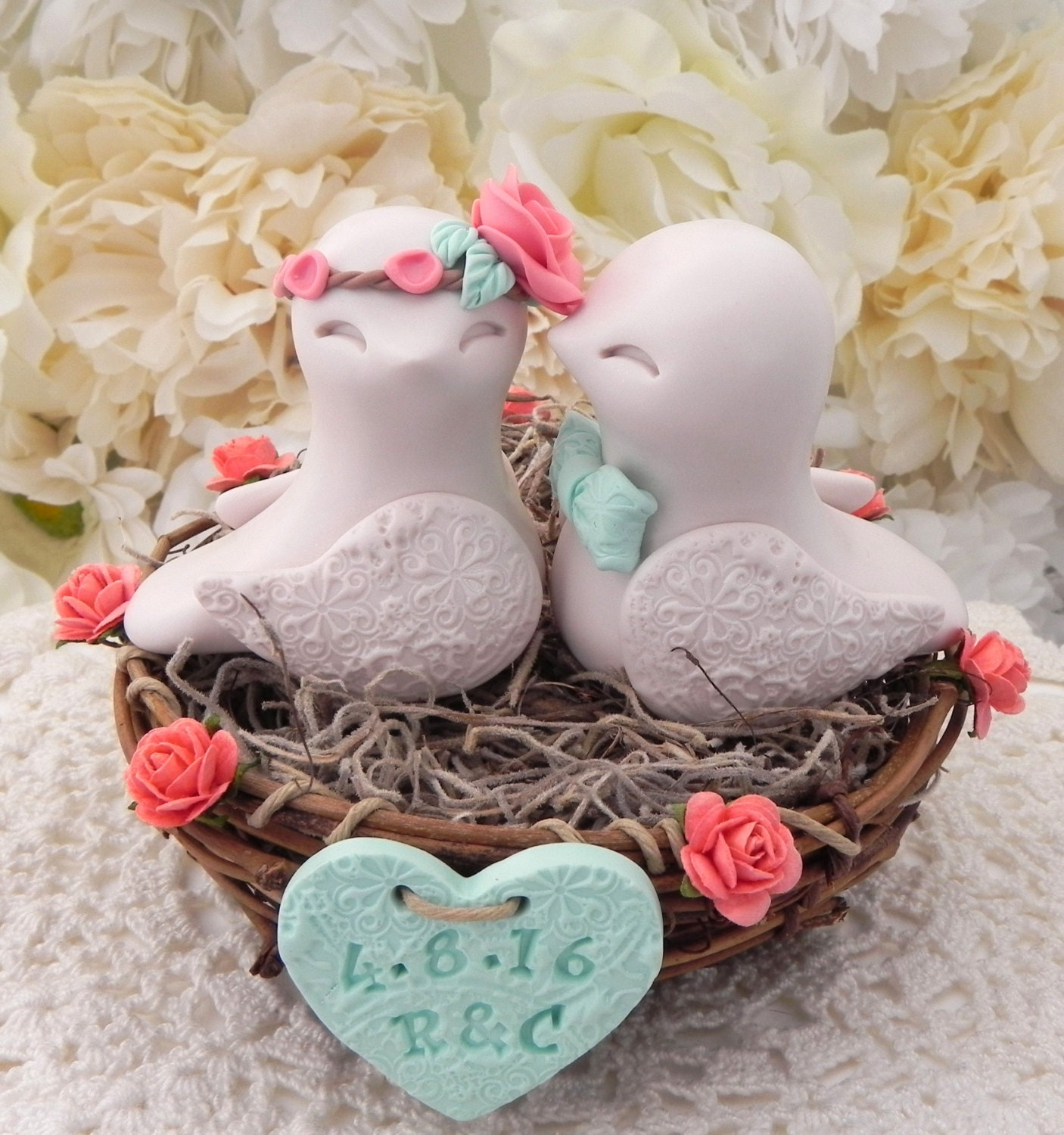 wedding cake with love birds rustic bird wedding cake topper coral beige and by 26923