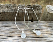RESERVED Recycled Sterling Silver Petal Hoop Earrings with Moonstone or Turquoise