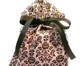ON SALE -- Romantic Wedding or Valentine's Day Gift Bag in Pink and Brown Damask