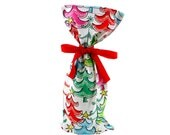 ON SALE -- Brightly Colored Wine Bottle Bag or Skinny Christmas Gift Bag with Festive Trees and Attached Recycled Ribbon
