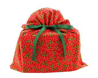 ON SALE -- Big Reusable Christmas Gift Bag with Holly on Red Fabric