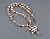 Rare Keishi Druzy Rosebud Pearl Statement Necklace - N201