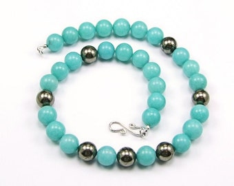 Amazonite & Pyrite Necklace - N473