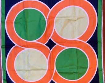 MOD Geometric Scarf Orange Green Navy Blue White Stunning Vintage Bold Accessory