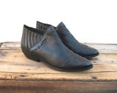 Ankle Chelsea Booties Black Leather Winklepickers 1990s Ladies Size 7