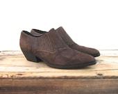 Ankle Chelsea Booties Brown Suede  Winklepickers 1990s Ladies Size 7