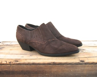 Ankle Chelsea Booties Brown Suede  Winklepickers 1990s Ladies Size 7