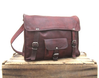 Waxed Wine Leather Wine Leather Satchel Briefcase