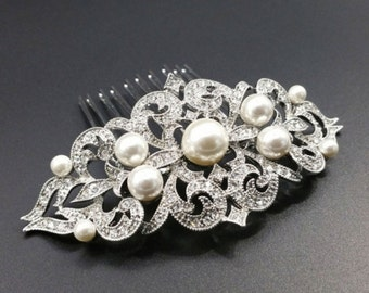 Vintage inspired crystal and pearl headpiece