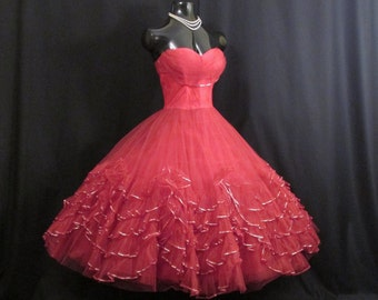 Vintage 1950's 50s Red Carpet Bombshell Strapless RED Tulle Tiered Ruffles Metallic Gold Party Prom DRESS Gown