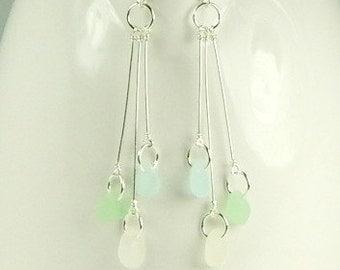 GENUINE Sea Glass Earrings Trio Mini Pastels Aqua White And Sea Foam Green