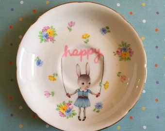 Happy Skipping Bunny with Pastel Brights Floral Vintage Illustrated Plate