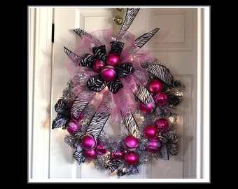 Hot Pink And Silver Snowflake Wreath Zebra Ribbon bells Battery LED lights