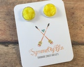 Neon Yellow Earring, Bright Yellow Earring, Stud Earring, Ready Ship Gift, Stud Earring, Graduation Gift, Costume Jewelry, Mother's Day Gift