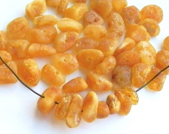 50 pcs - Natural Baltic amber beads, raw, 5-9 mm at widest part (#51)